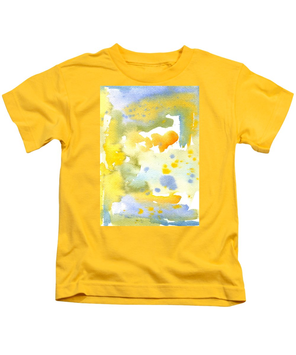 Yellow Kids T-Shirt featuring the painting Sparklers by Marcy Brennan