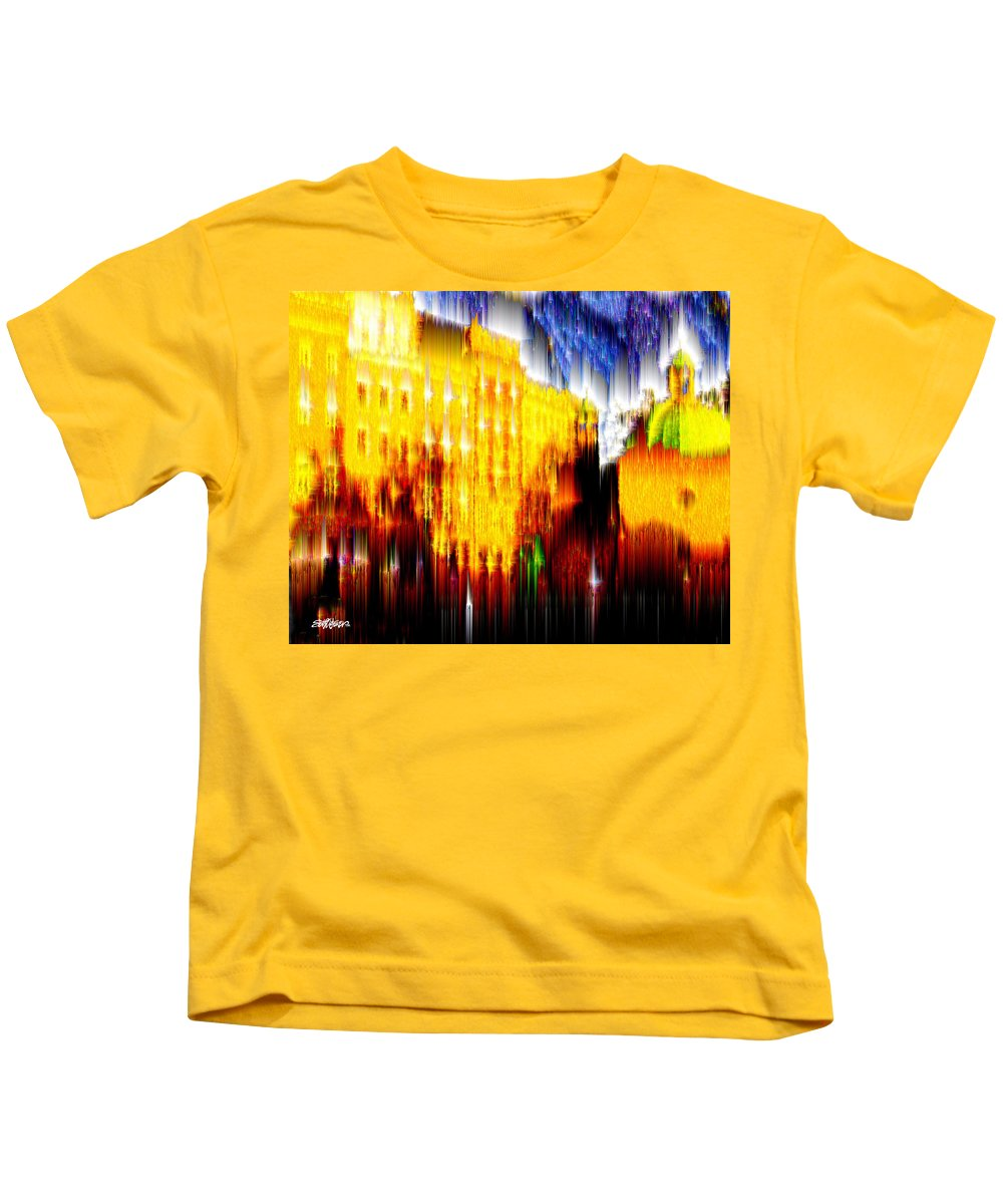 Old World Kids T-Shirt featuring the digital art Starry Night In Prague by Seth Weaver