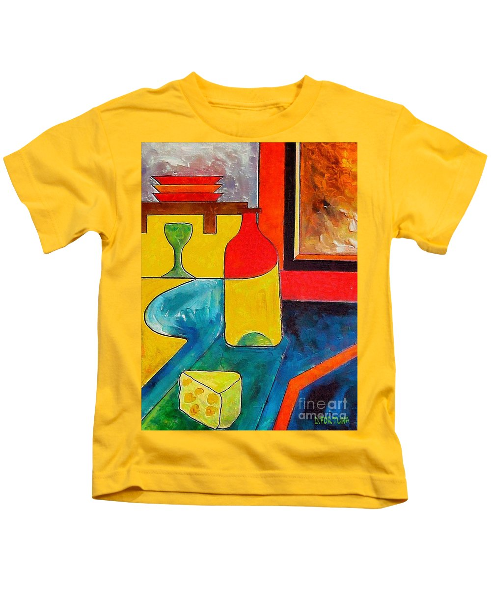 Wine Kids T-Shirt featuring the painting Still Life by Dragica Micki Fortuna
