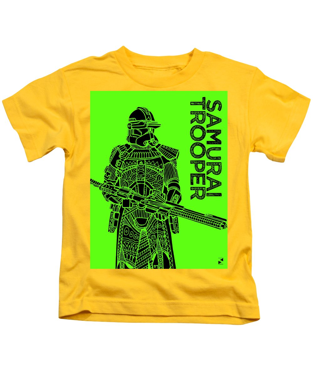 Stormtrooper Kids T-Shirt featuring the mixed media Stormtrooper - Green - Star Wars Art by Studio Grafiikka