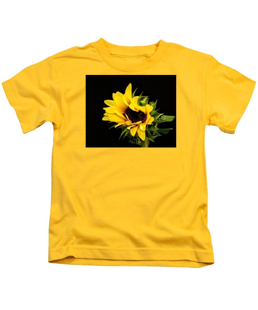 Floral Close Up Kids T-Shirt featuring the photograph Sunflower 2 by Neva Kittrell-Scheve
