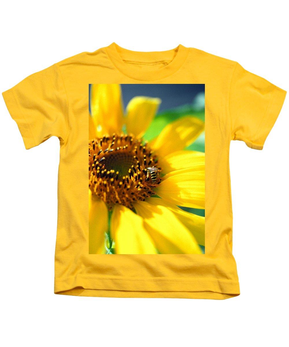 Bright Kids T-Shirt featuring the photograph Sunflower And Bee by Thomas Firak