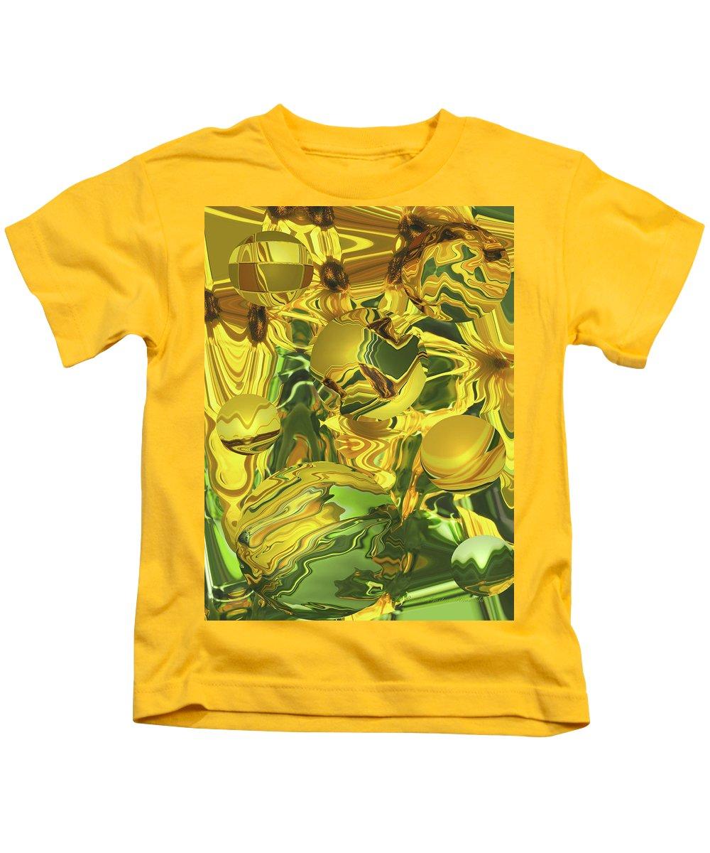 Abstract Kids T-Shirt featuring the photograph Sunflower Orb Glow by Brooks Garten Hauschild