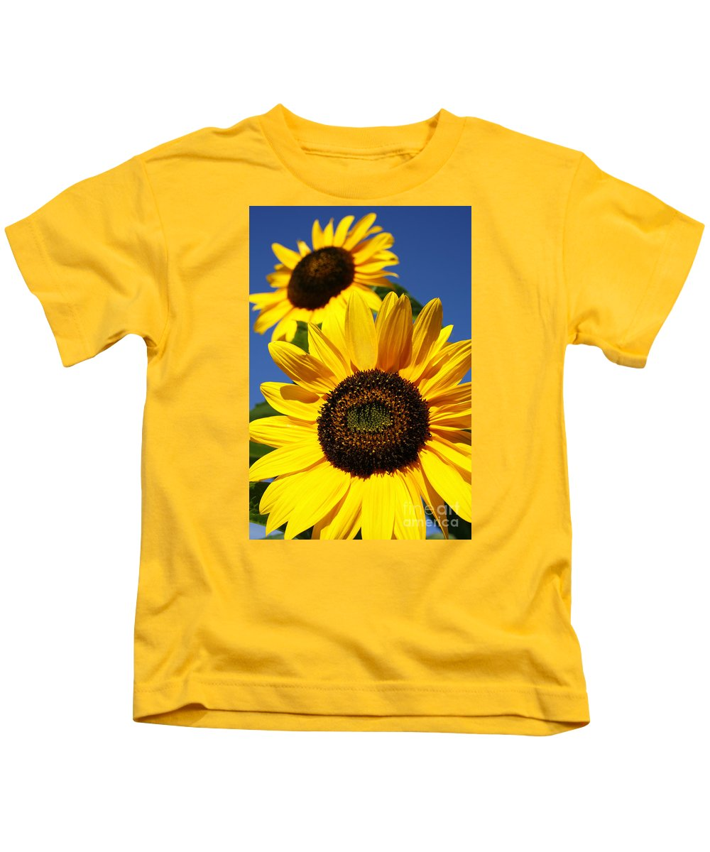 Sunflowers Kids T-Shirt featuring the photograph Sunflowers by Gaspar Avila