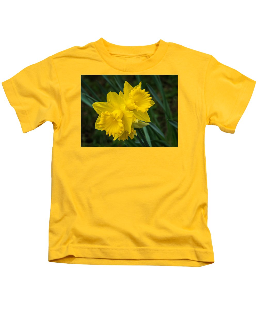 Daffs Kids T-Shirt featuring the photograph Sunny Daffodils by Susie Peek