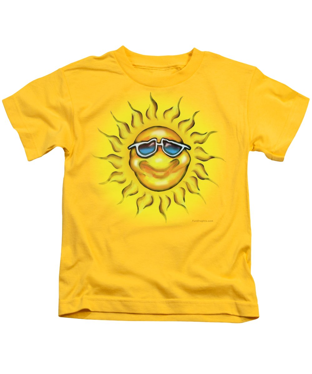 Sun Kids T-Shirt featuring the painting Sunny by Kevin Middleton