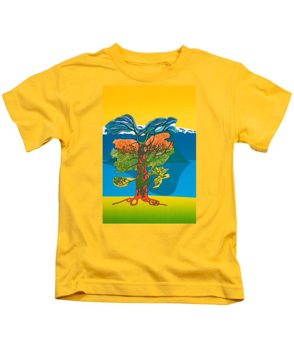 Landscape Kids T-Shirt featuring the mixed media The Tree of life. From the Viking Saga. by Jarle Rosseland