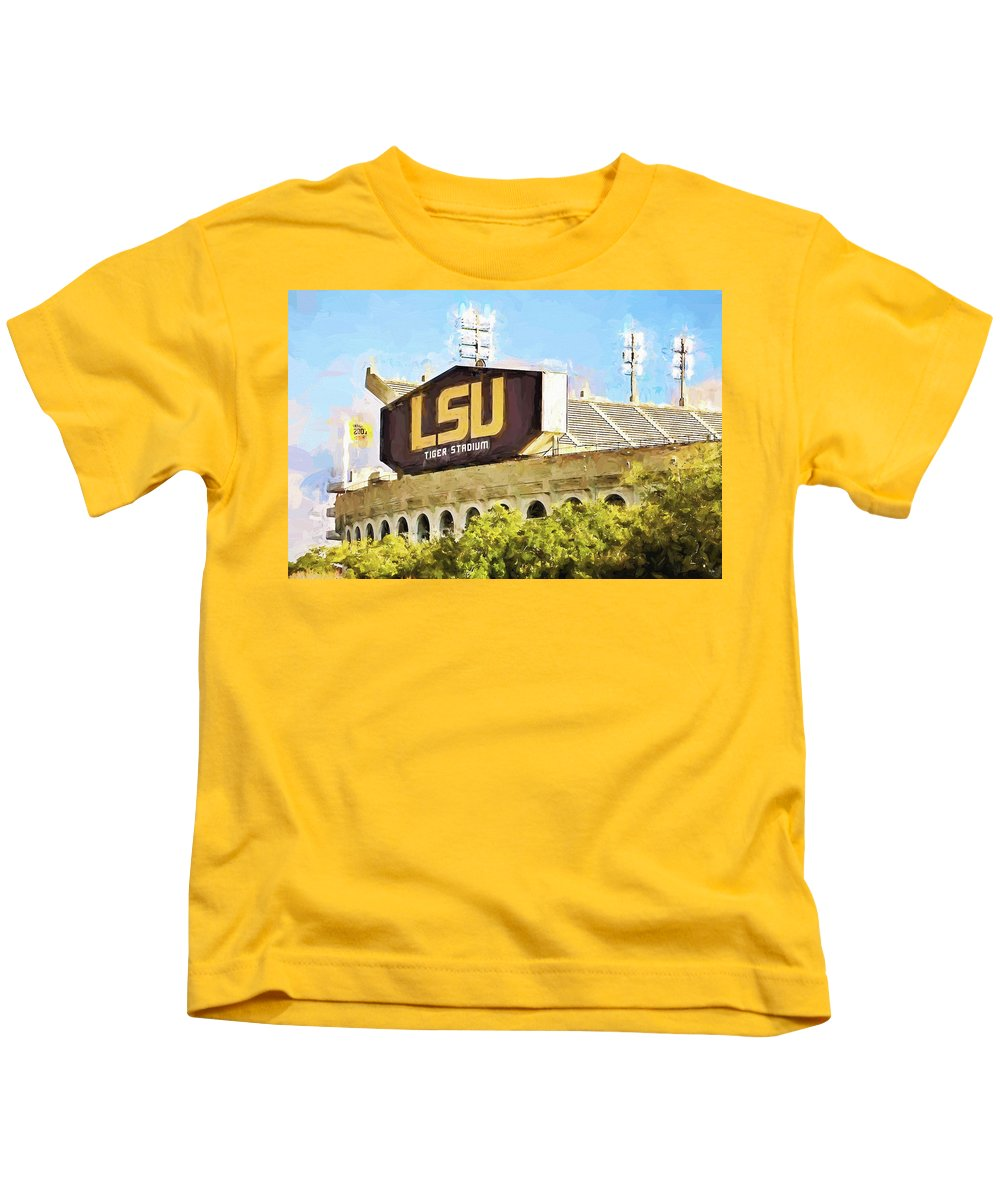 Lsu Kids T-Shirt featuring the photograph Tiger Stadium - Digital Painting by Scott Pellegrin