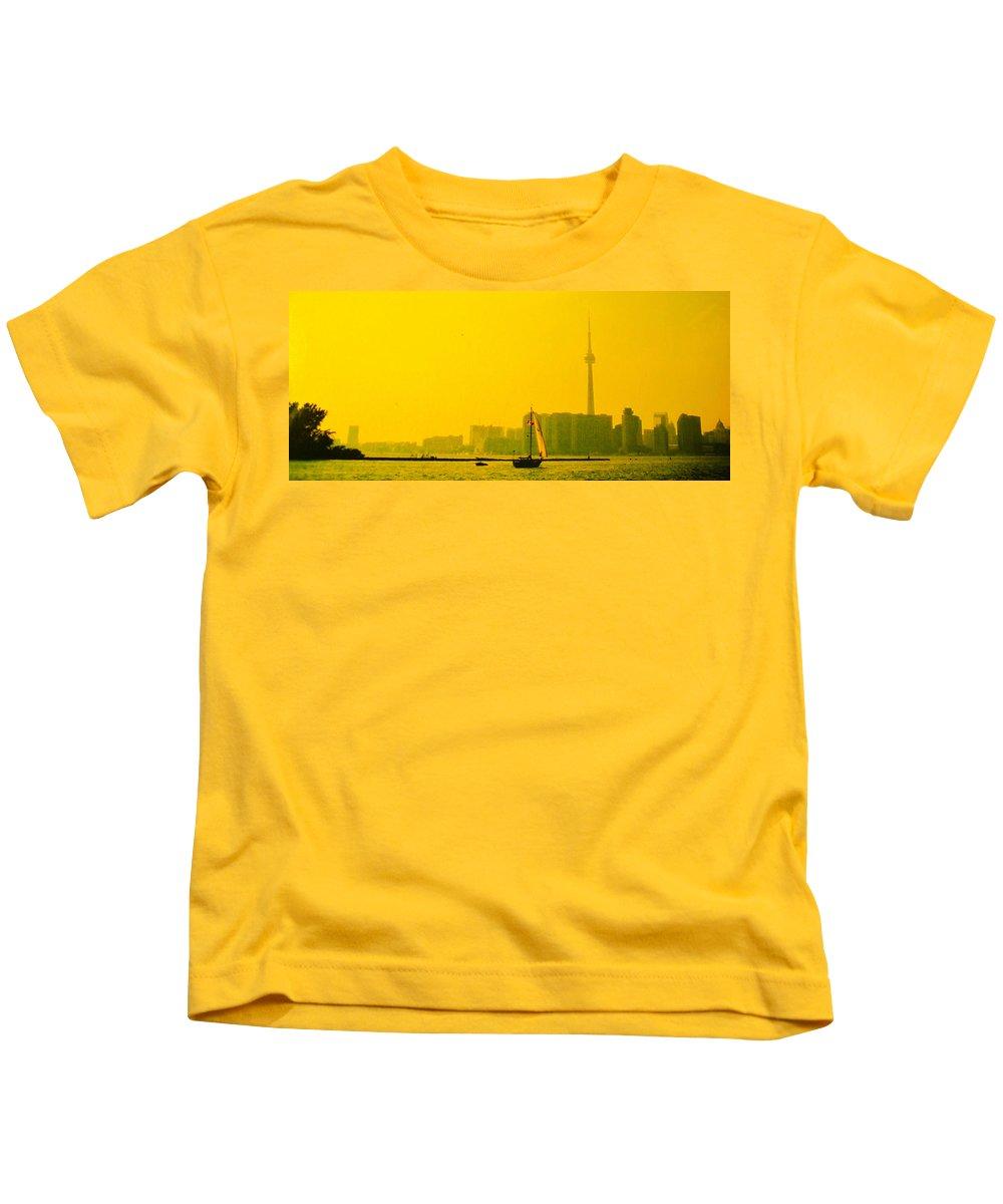 Toronto Kids T-Shirt featuring the photograph Toronto At Sunset by Ian MacDonald