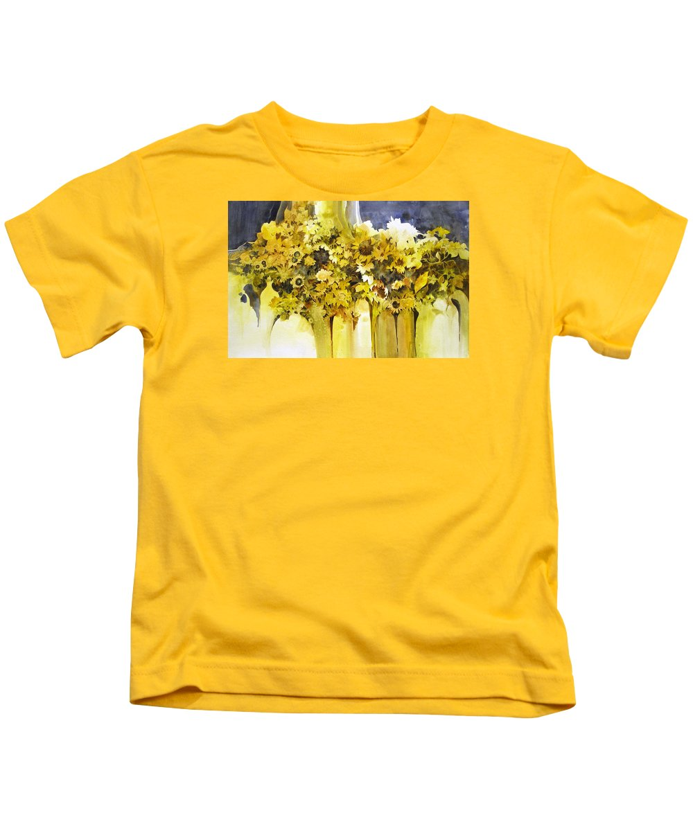 Yellow Flowers;sunflowers;vases;floral;contemporary Floral; Kids T-Shirt featuring the painting Vases Full Of Blooms  by Lois Mountz