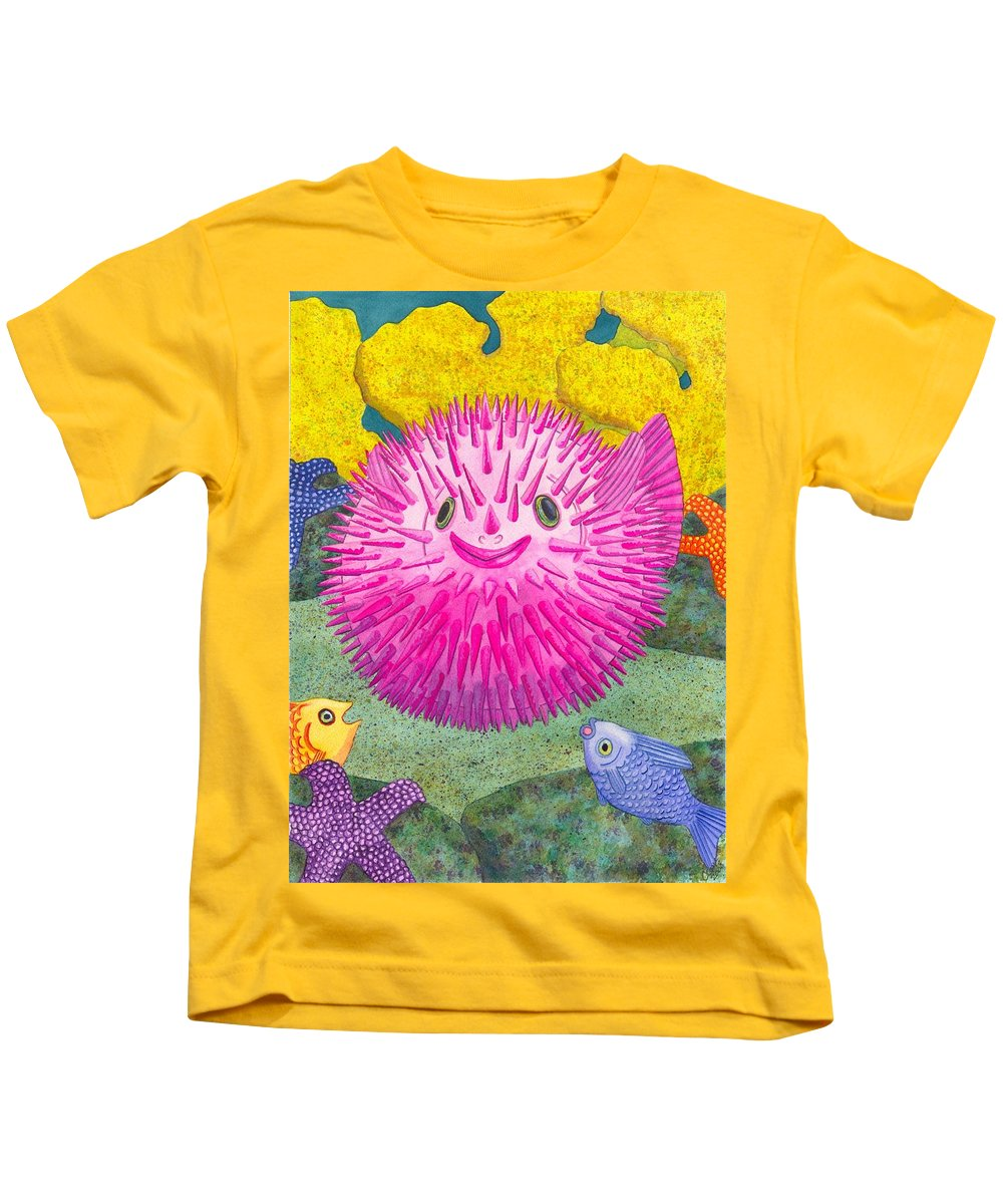 Puffer Fish Kids T-Shirt featuring the painting Where's Pinkfish by Catherine G McElroy