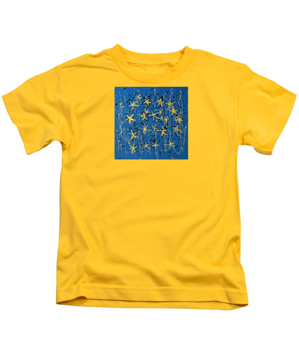 Abstract Painting Kids T-Shirt featuring the painting Yellow Blue by J R Seymour