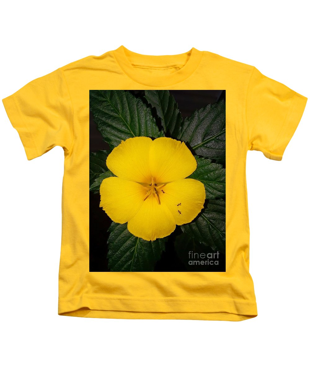 Yellow Kids T-Shirt featuring the photograph Yellow Flower 2 by Tiffany Stalker