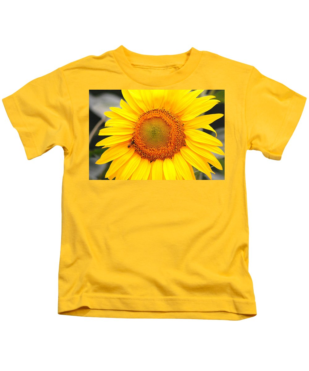 Sunflower Kids T-Shirt featuring the photograph Yellow Sunflower With Bee by Amy Fose