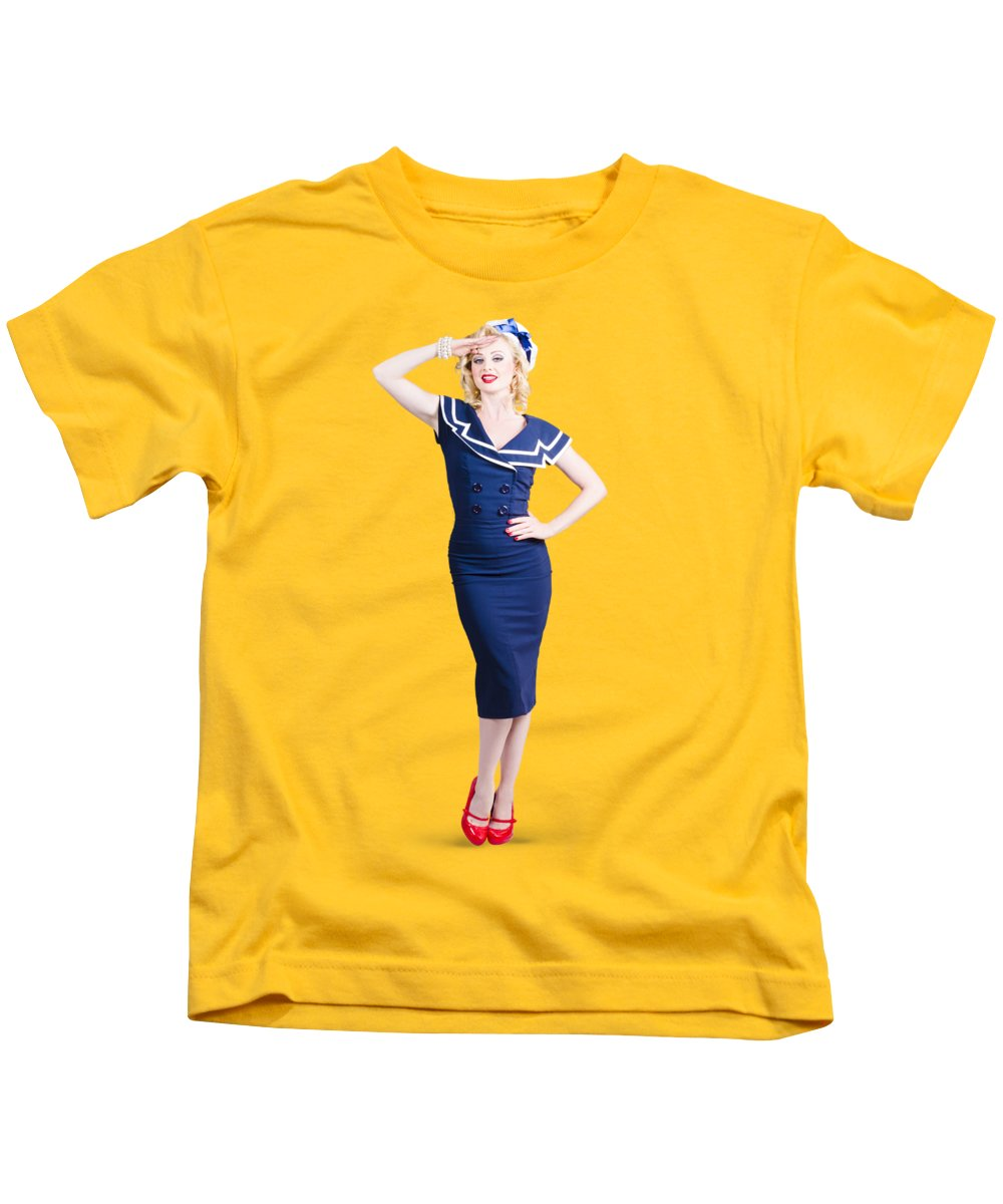Sailor Kids T-Shirt featuring the photograph Young Retro Pinup Girl Wearing Sailor Uniform by Jorgo Photography - Wall Art Gallery