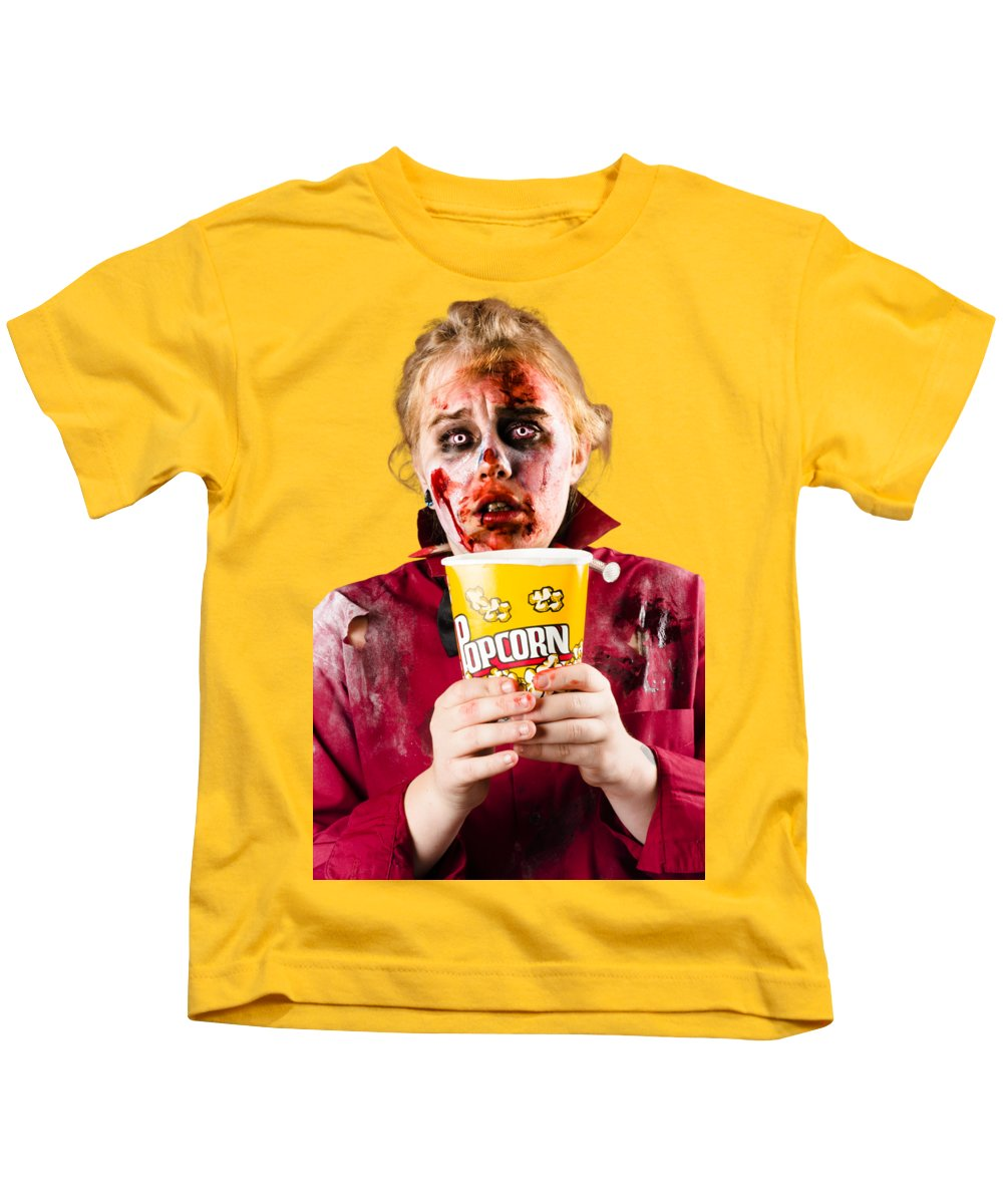Zombie Woman Watching Scary Movie With Popcorn Kids T-Shirt for Sale ...