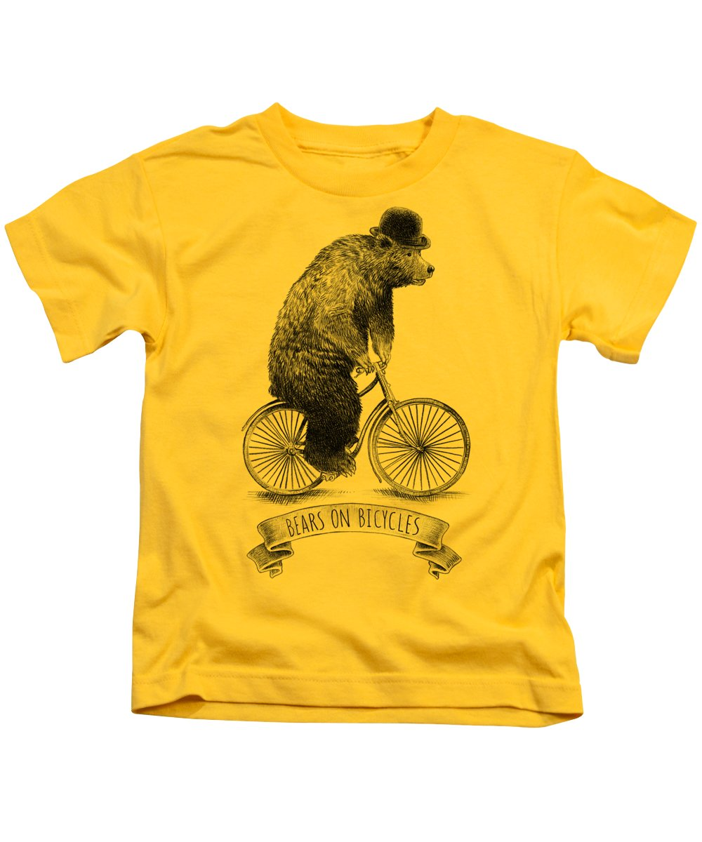 Bear Kids T-Shirt featuring the digital art Bears on Bicycles by Eric Fan