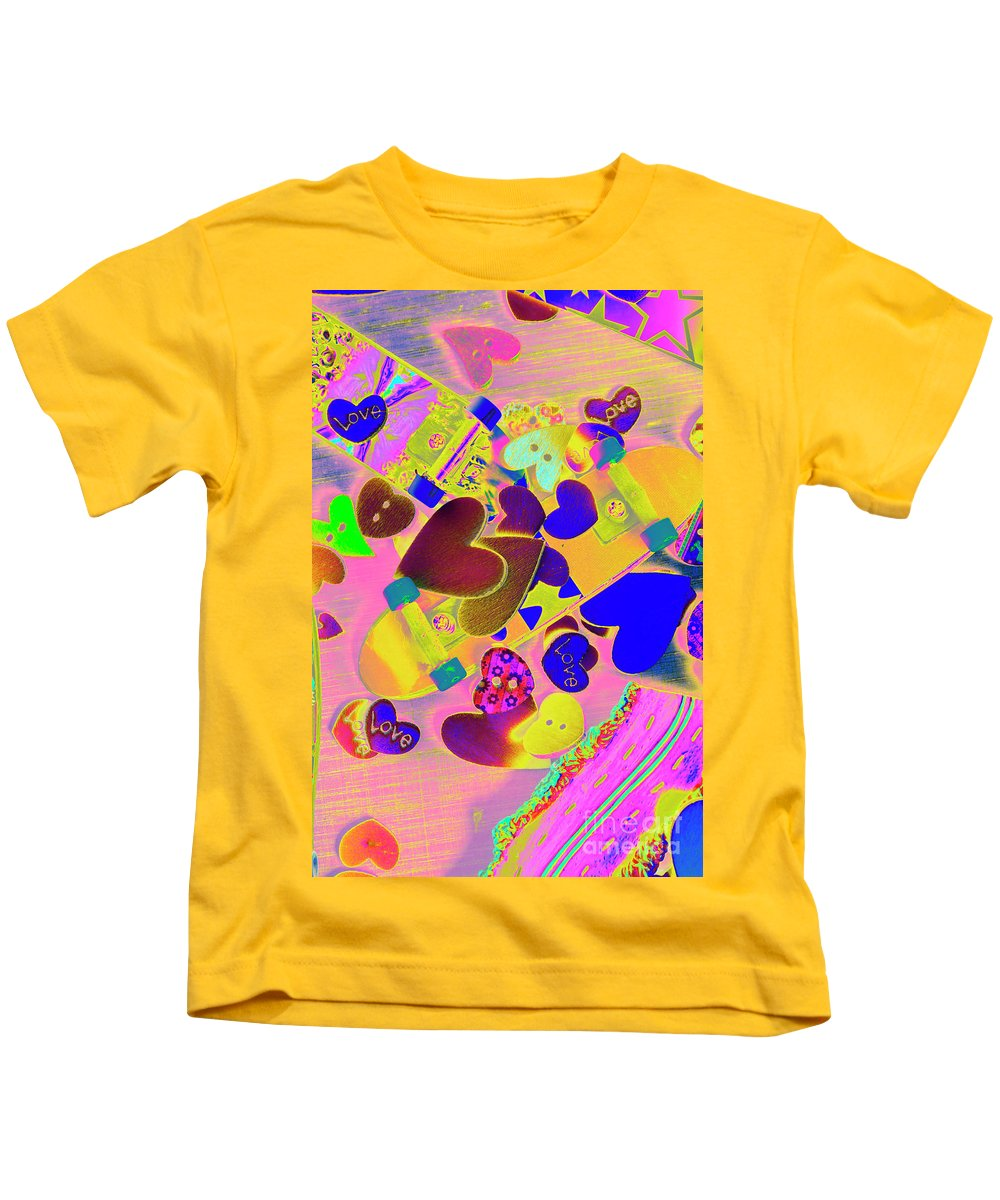 Funky Kids T-Shirt featuring the photograph Heart Stack - Fallen For Sk8 by Jorgo Photography - Wall Art Gallery
