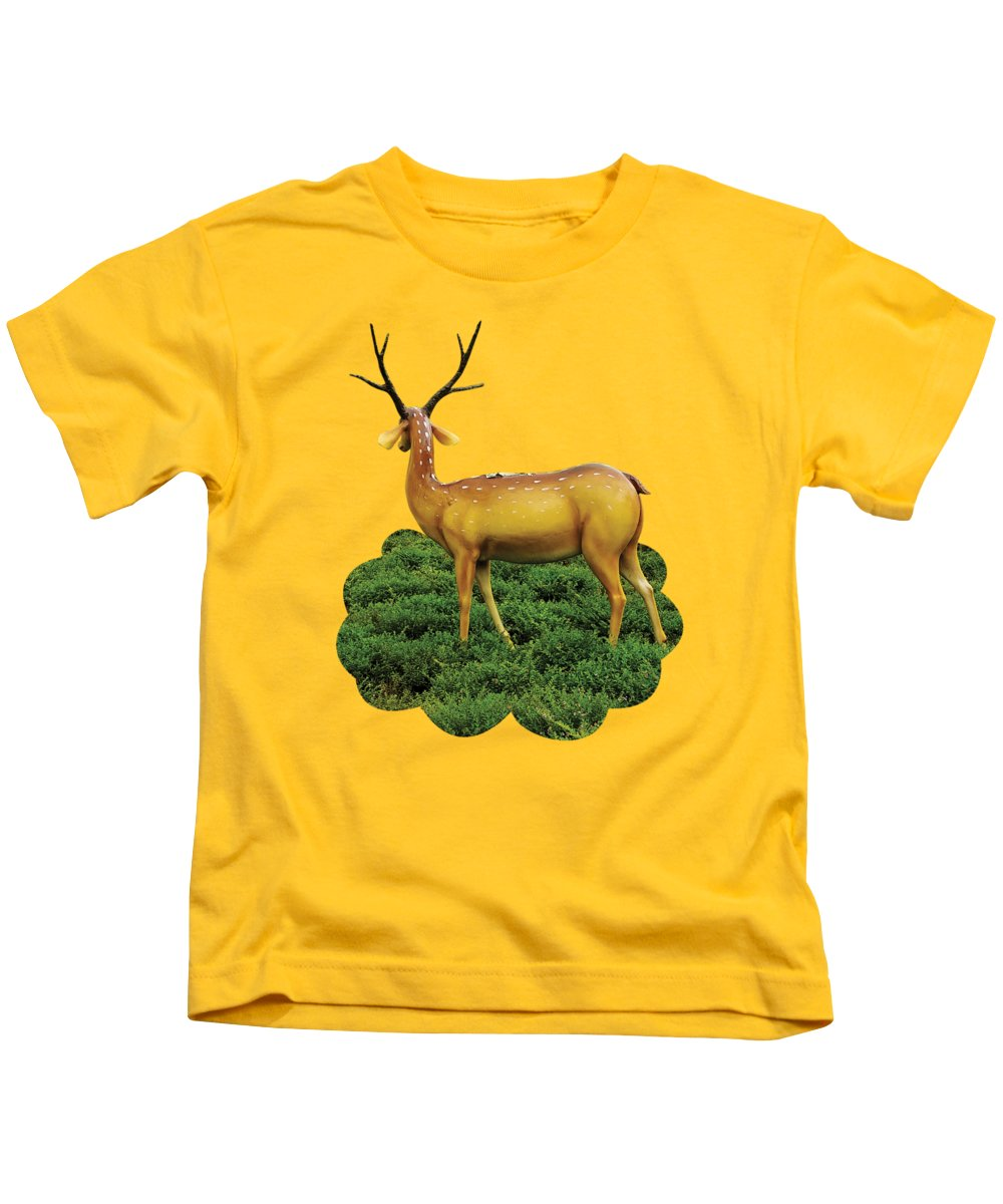 Reindeer Kids T-Shirt featuring the photograph Pretty Deers Playing In The Forest. by Anita Morya