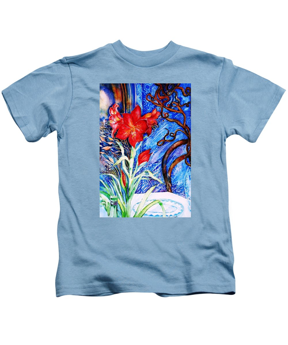 Still Life Kids T-Shirt featuring the painting Red Amaryllis by Trudi Doyle