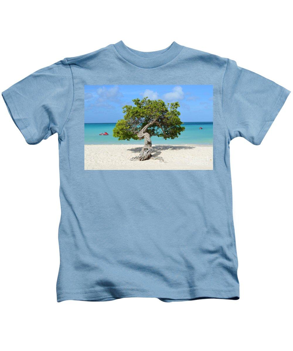 Divi Kids T-Shirt featuring the photograph Aruba Divi Divi Tree by DejaVu Designs