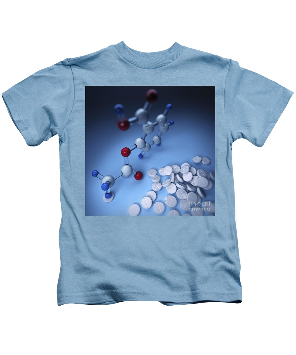 3d Visualization Kids T-Shirt featuring the photograph Aspirin by Science Picture Co