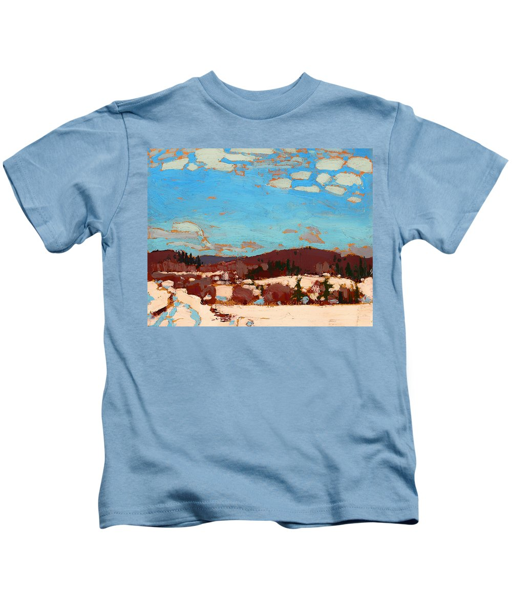 Painting Kids T-Shirt featuring the painting Early Spring by Mountain Dreams