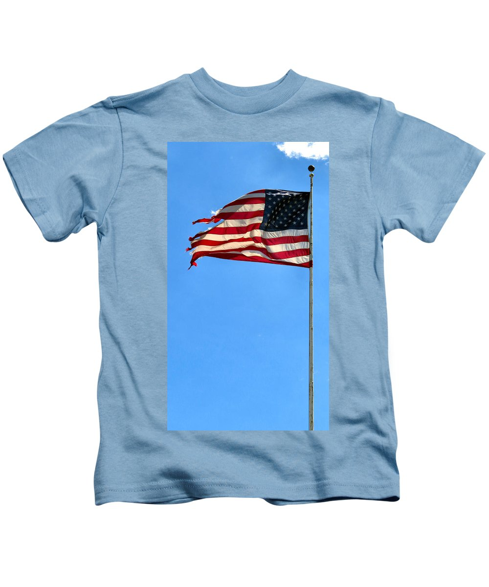 Span Kids T-Shirt featuring the photograph Flying High by Art Dingo