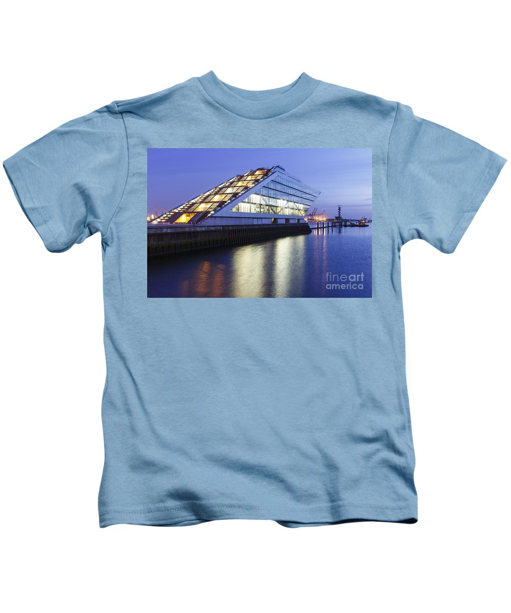 2014 Kids T-Shirt featuring the photograph Hamburg Dockland At Night by Jannis Werner