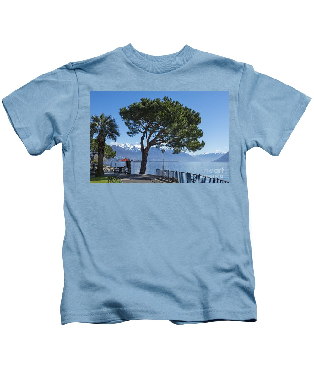 Street Kids T-Shirt featuring the photograph Lakeside With Trees by Mats Silvan