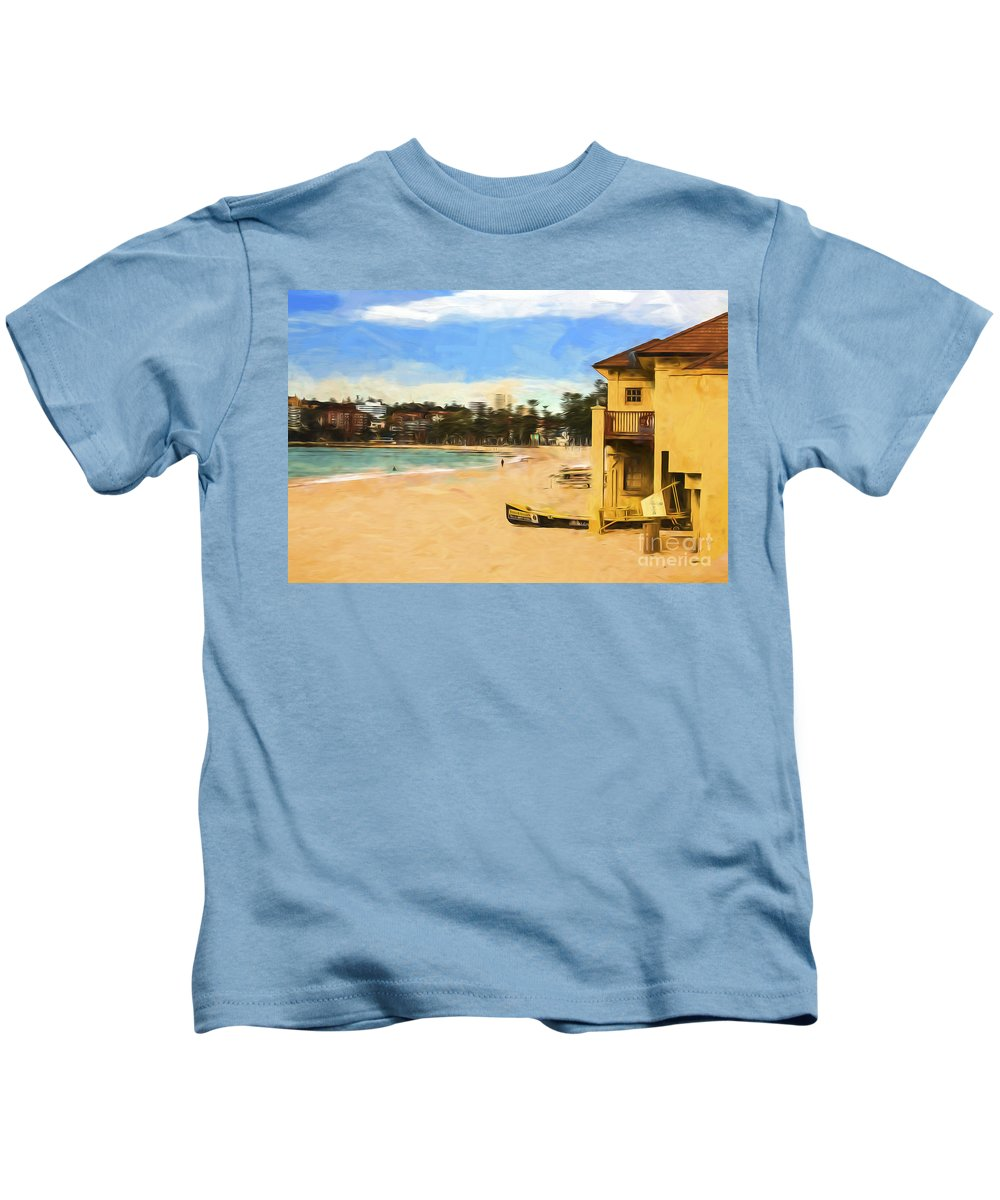 People Kids T-Shirt featuring the photograph Manly Beach by Sheila Smart Fine Art Photography