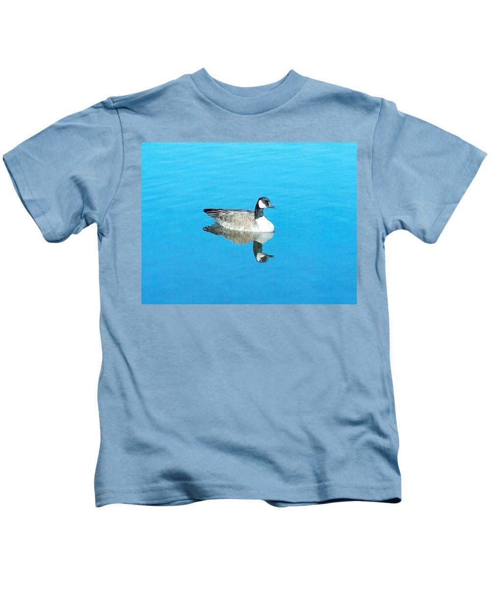 Goose Kids T-Shirt featuring the photograph Mirror Goose by Kerri Mortenson