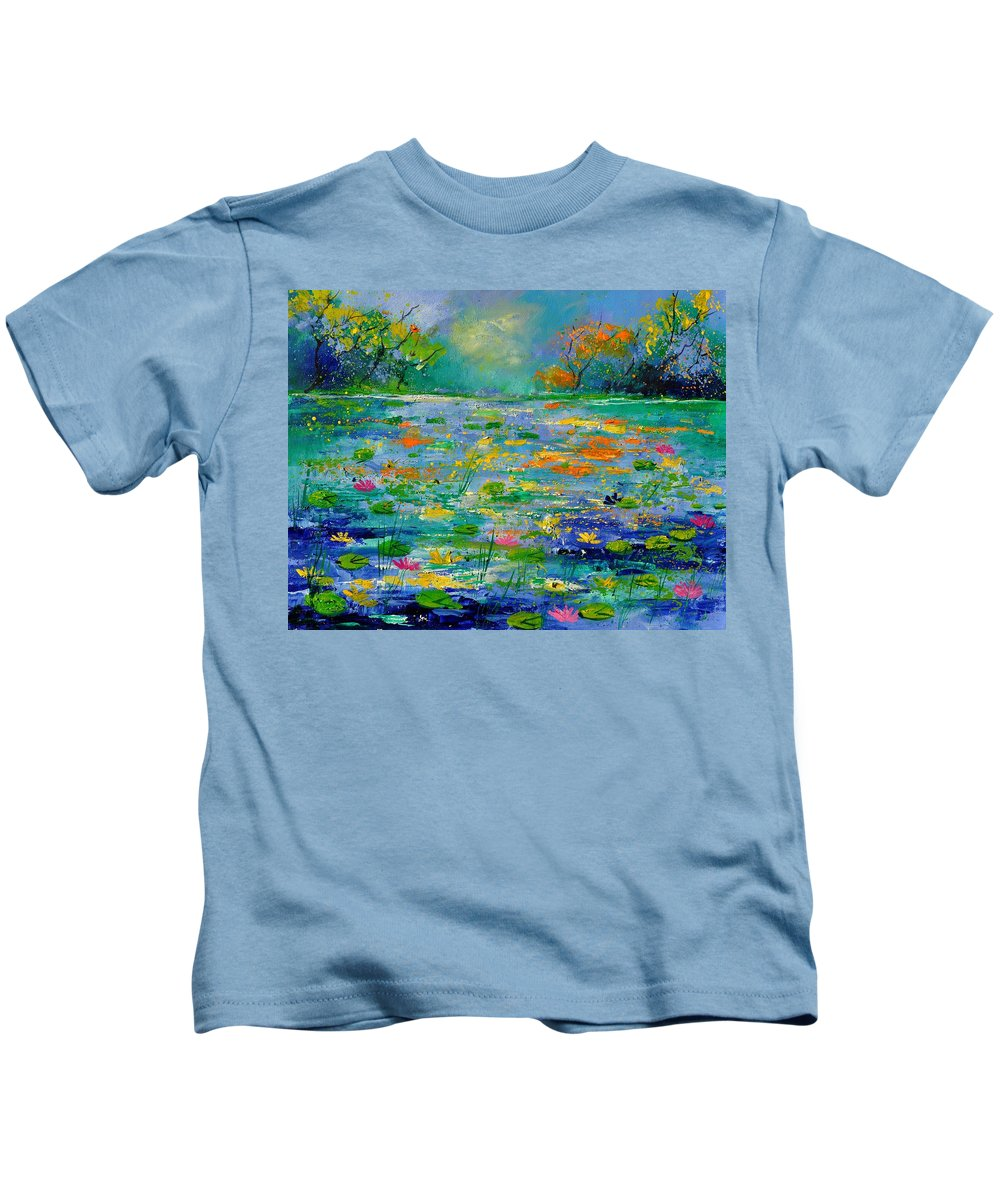 Landscape Kids T-Shirt featuring the painting Pond 454190 by Pol Ledent