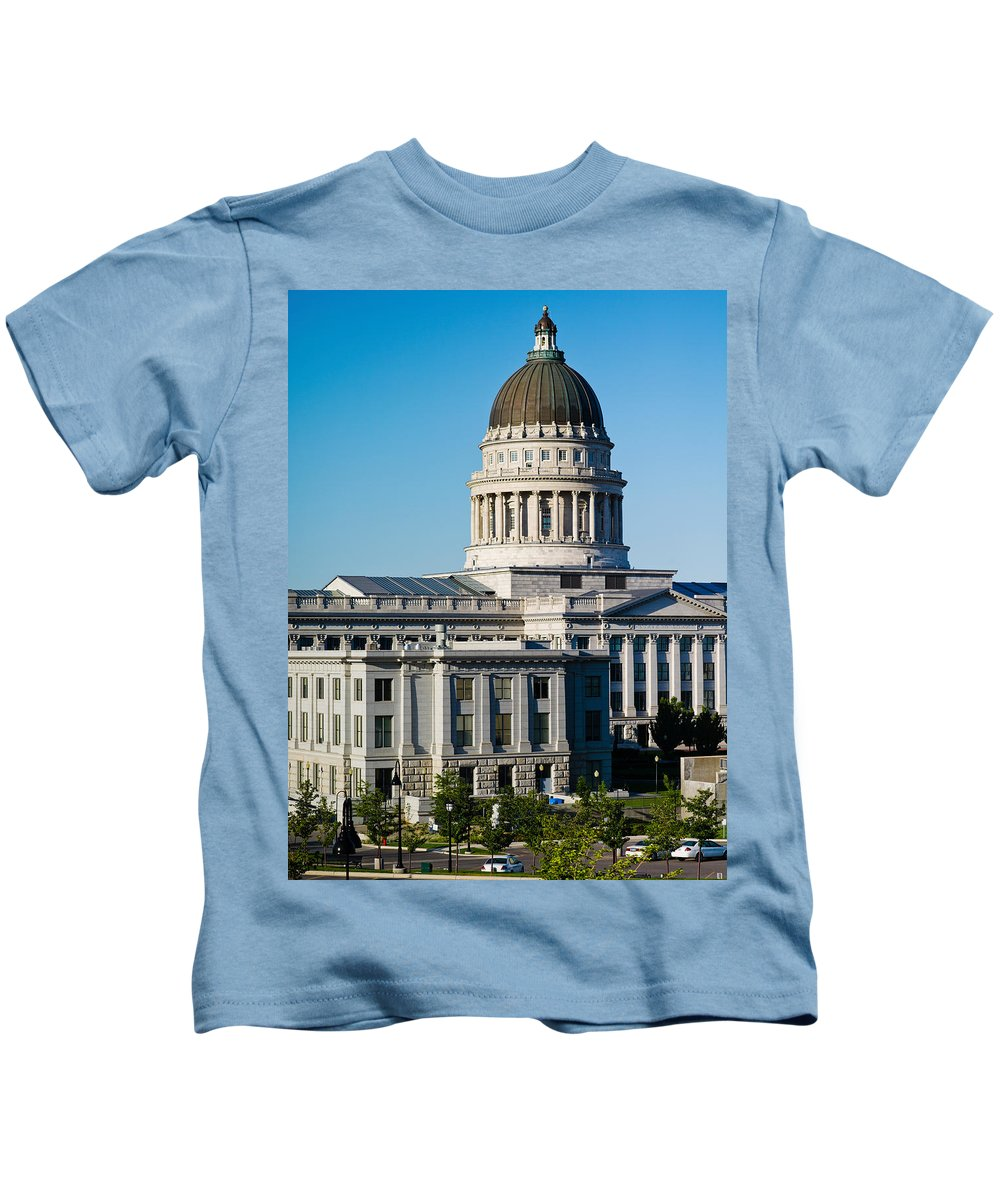 Photography Kids T-Shirt featuring the photograph Utah State Capitol Building, Salt Lake by Panoramic Images