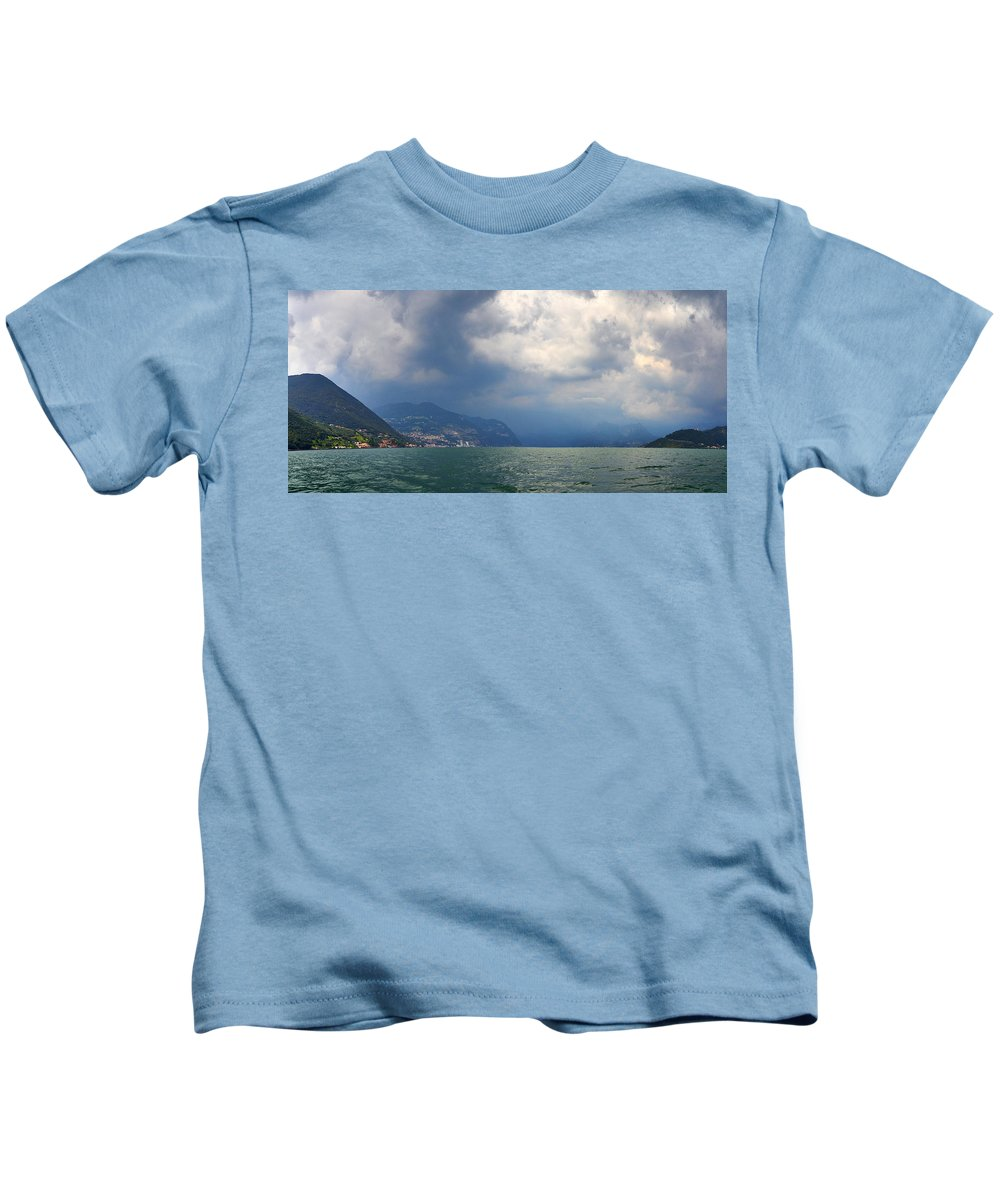 Francacorta Kids T-Shirt featuring the photograph Lago Di Iseo by Jouko Lehto