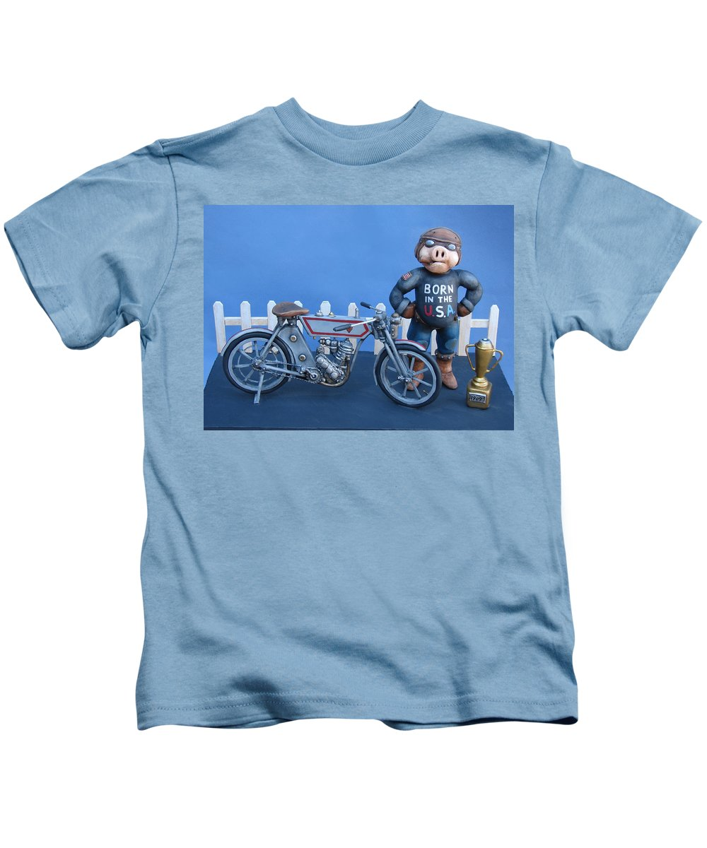 Motorcycle Kids T-Shirt featuring the sculpture 1909 Hog by Stuart Swartz