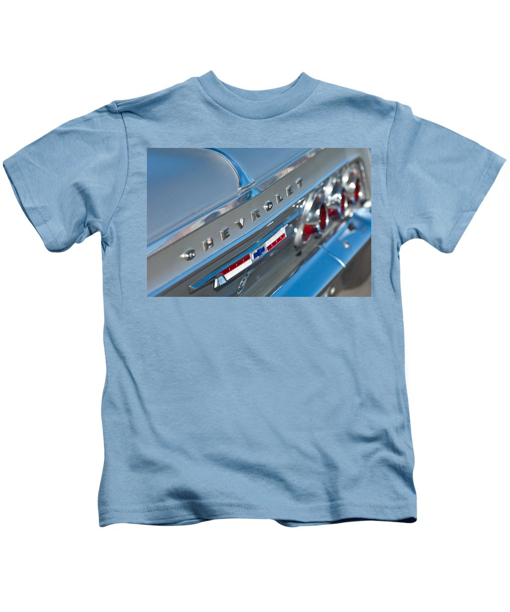 1964 Chevrolet Impala Kids T-Shirt featuring the photograph 1964 Chevrolet Impala Taillights And Emblems by Jill Reger