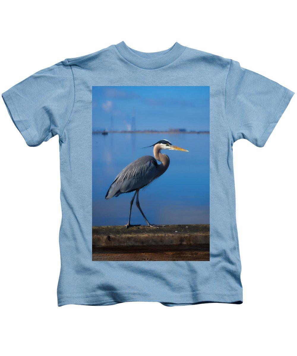 Blue Kids T-Shirt featuring the photograph Blue Heron by Bradley Bennett
