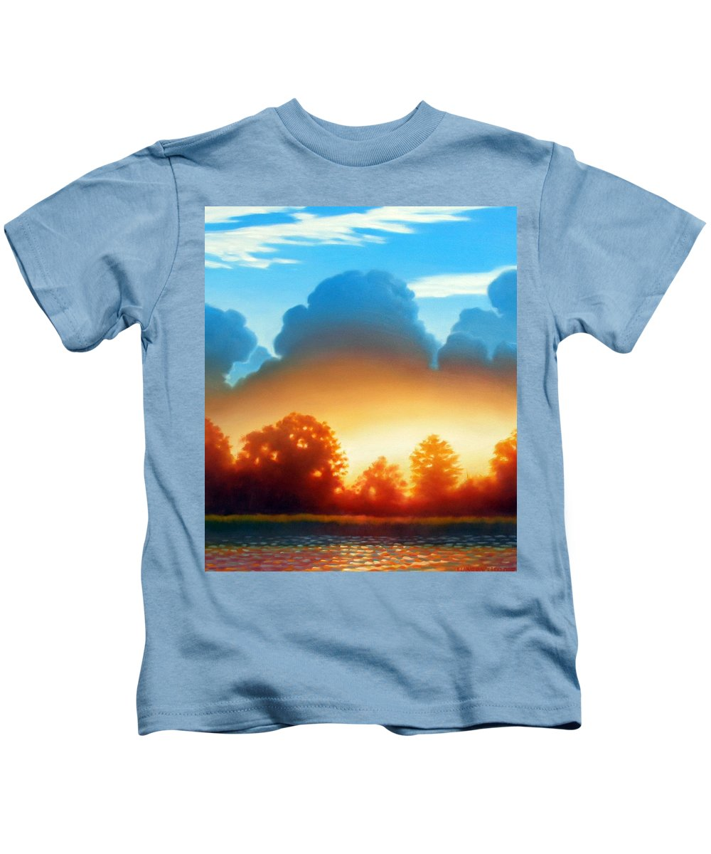 Sunset Kids T-Shirt featuring the painting Glowing by Kevin Lawrence Leveque