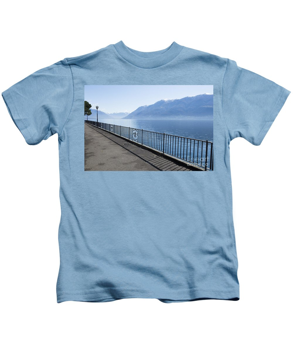 Fence Kids T-Shirt featuring the photograph Lakeside by Mats Silvan