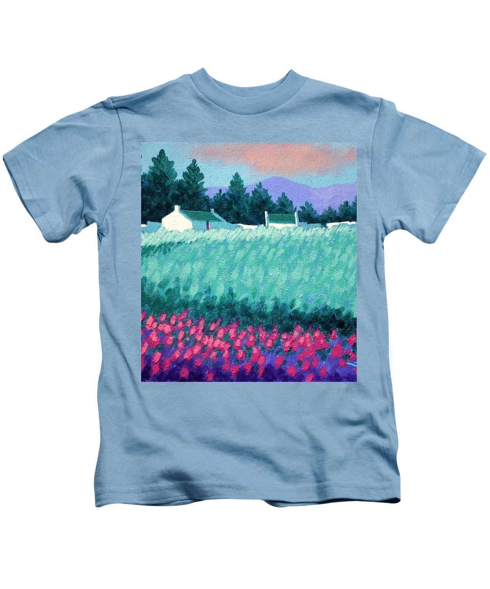 Acrylic Kids T-Shirt featuring the painting Turquoise Meadow by John Nolan