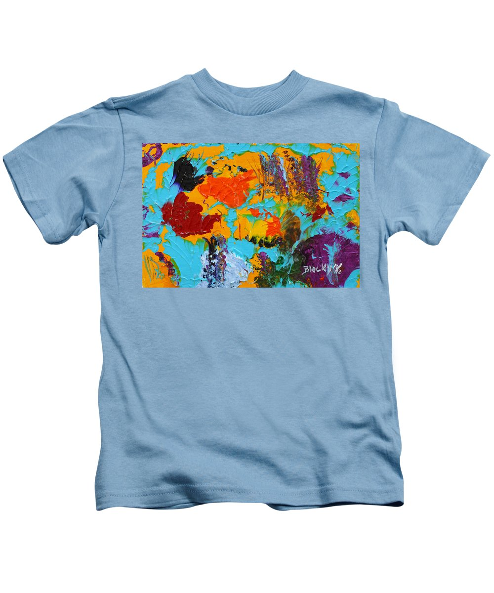 Bold Abstract Kids T-Shirt featuring the painting Under The Tropical Sea by Donna Blackhall