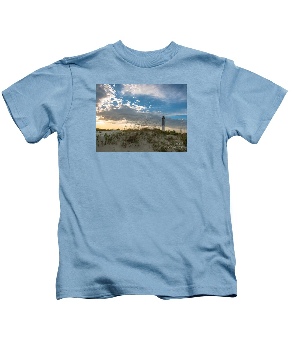 Lighthouse Kids T-Shirt featuring the photograph Sc Lighthouse View by Dale Powell