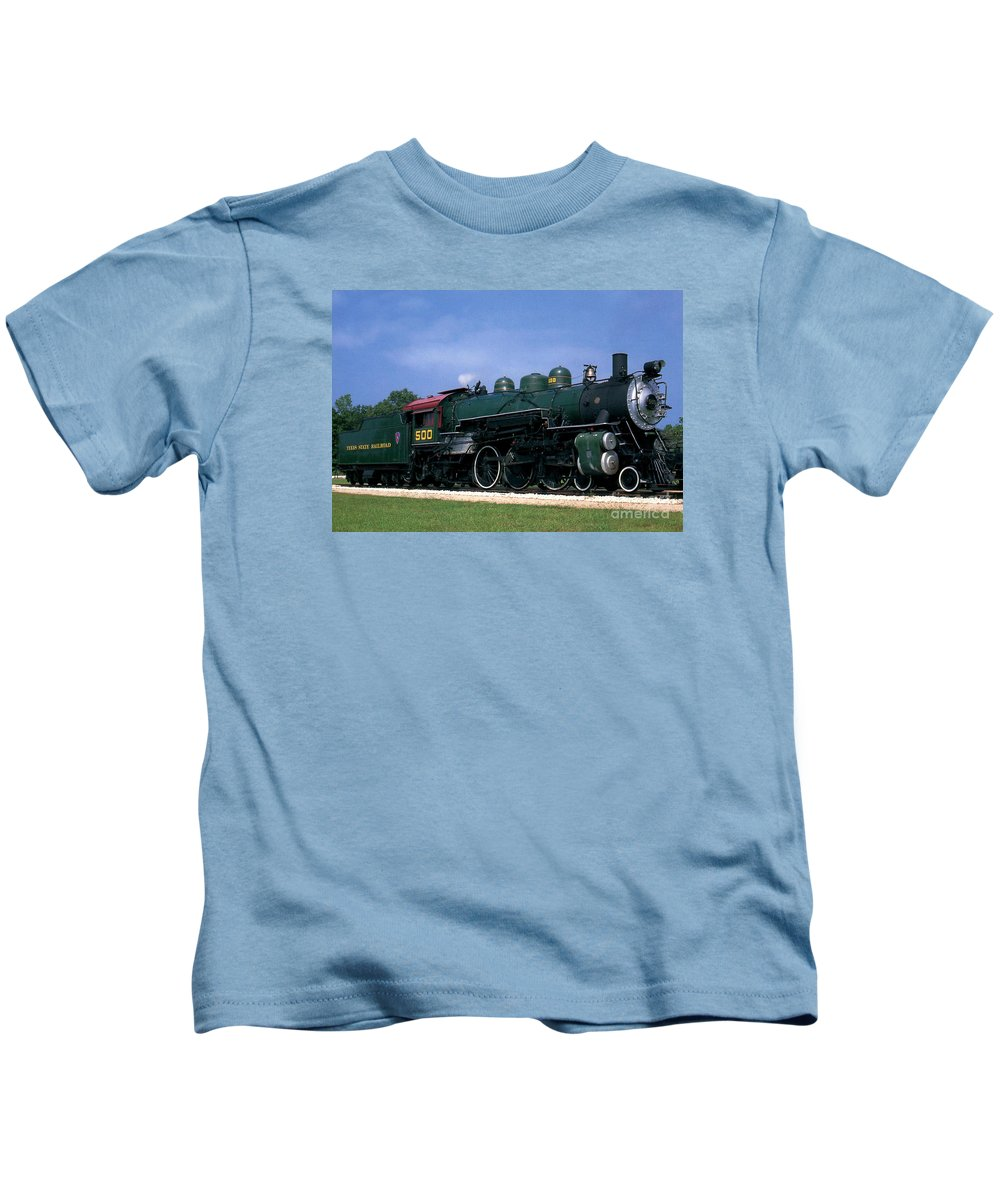 Texas State Railroad Kids T-Shirt featuring the photograph Texas State Railroad by Ruth Housley