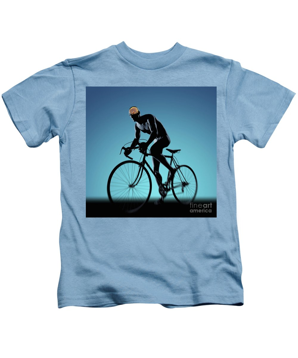 Thought Kids T-Shirt featuring the photograph Cycling by Science Picture Co
