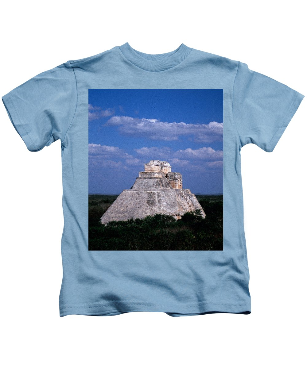 America Kids T-Shirt featuring the digital art Uxmal Ruins by Roy Pedersen