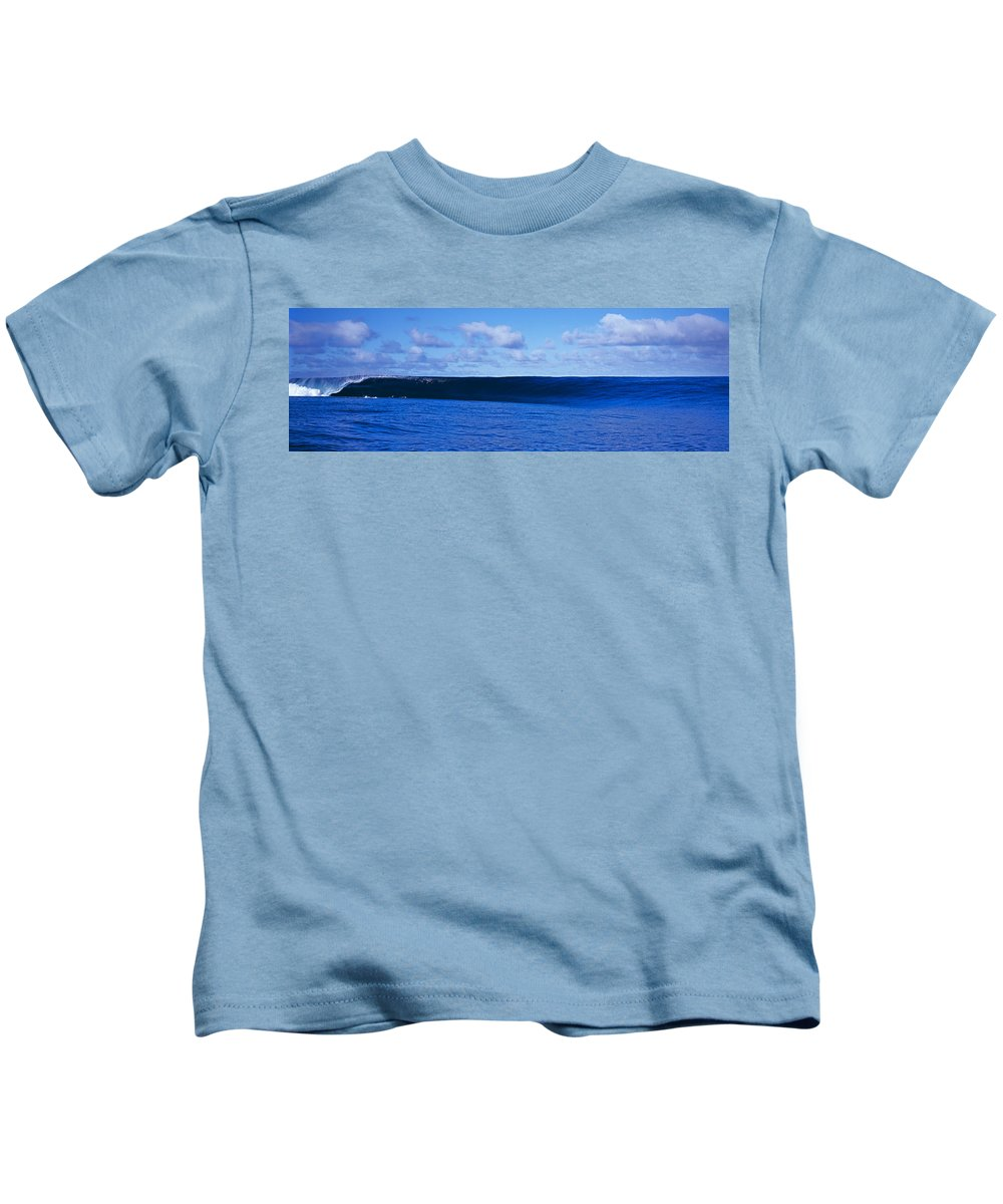 Photography Kids T-Shirt featuring the photograph Waves Splashing In The Sea by Panoramic Images