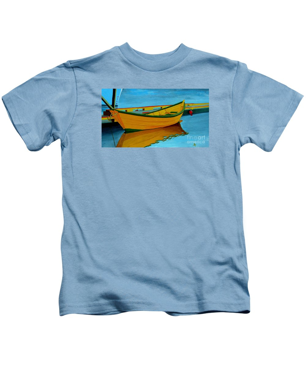 Grand Banks Kids T-Shirt featuring the painting A Grand Banks Dory by Anthony Dunphy