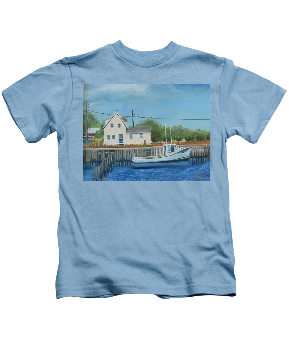 Pei Kids T-Shirt featuring the painting A Long Commute by Lorraine Vatcher