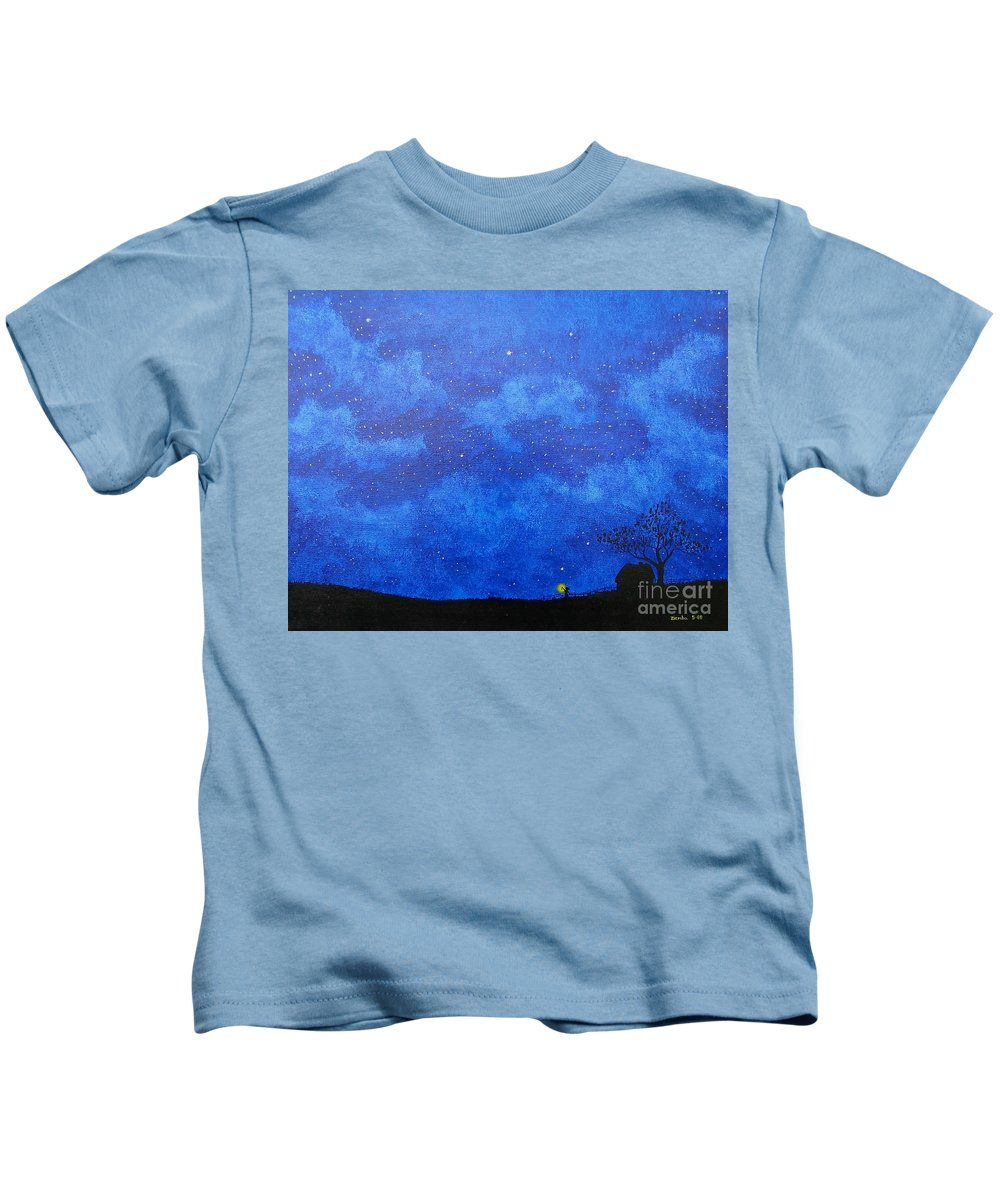 Landscape Kids T-Shirt featuring the painting A Single Candle by Lori Ziemba